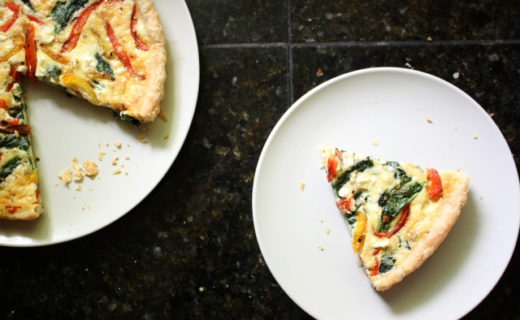 Roasted Pepper Quiche with Spinach and Feta