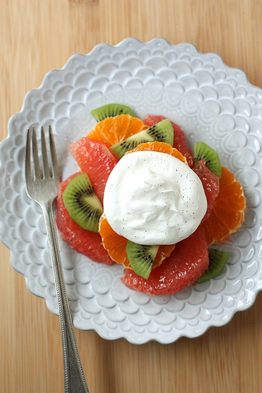 Winter Fruit Salad With Vanilla Whipped Cream Completely Delicious