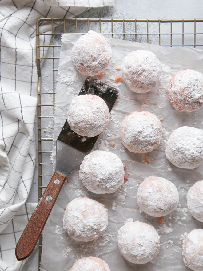 Cherry Almond Snowball Cookies | completelydelicious.com