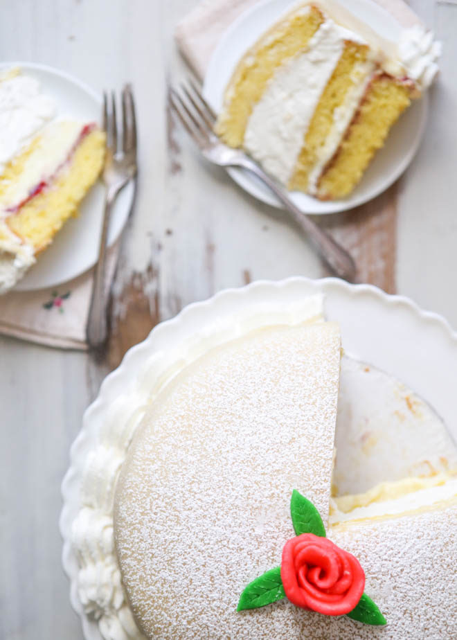 Princess Cake - sponge cake with vanilla and raspberry filling covered with marzipan | completelydelicious.com