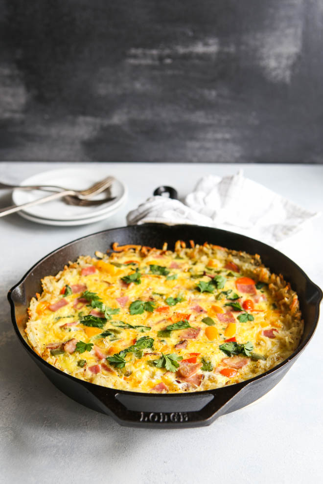 Hash Brown and Ham Frittata | completelydelicious.com