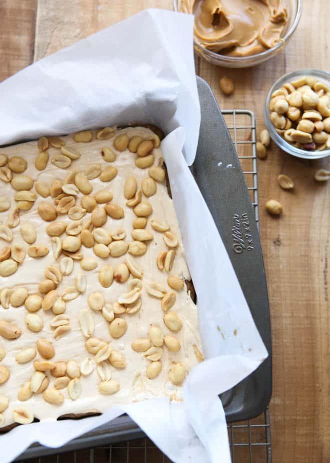 Salted Caramel Peanut Bars | completelydelicious.com