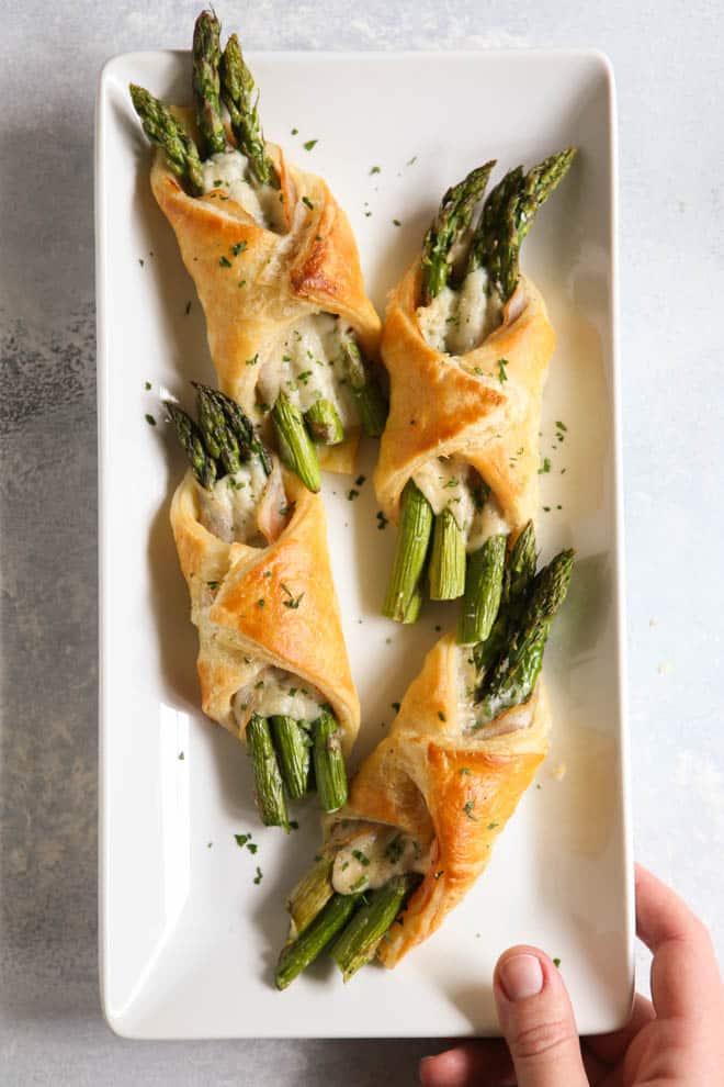 Asparagus pancetta puff pastry bundles make an easy but fancy appetizer!