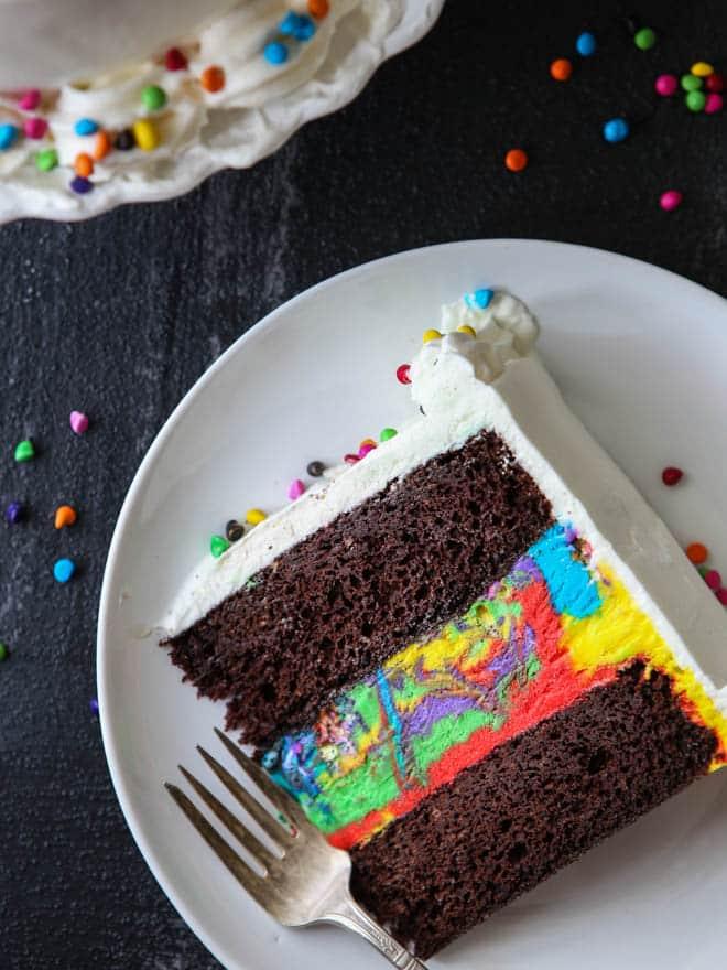 Chocolate Rainbow Ice Cream Cake Completely Delicious