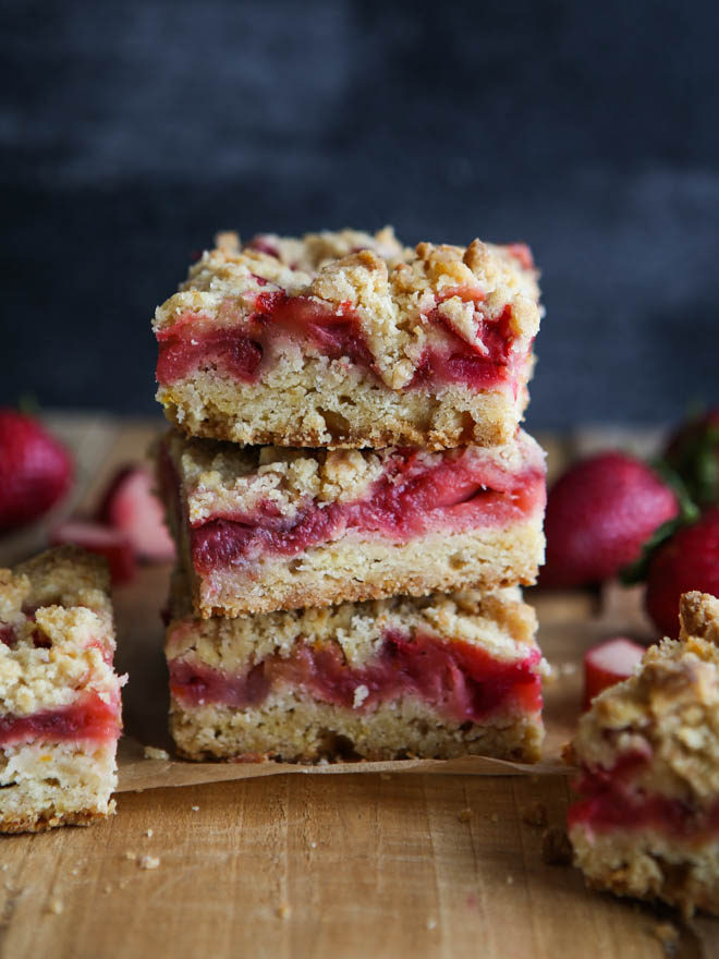 strawberry rhubarb crumb bars are the perfect treat for spring