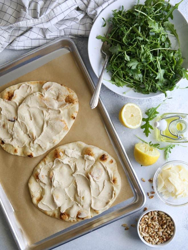 Hummus and Salad Flatbread Pizza