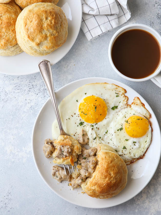 Buttermilk biscuits with sausage gravy on the inside!