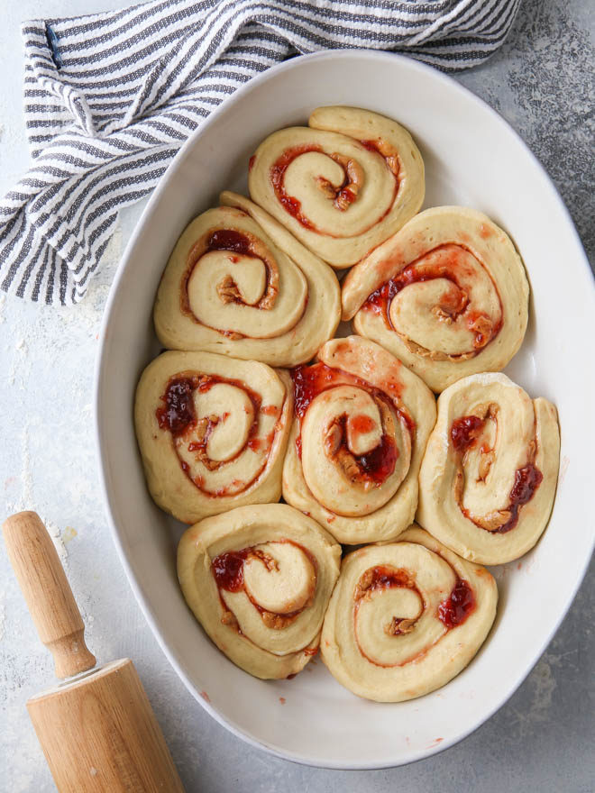 Peanut butter and jam sweet rolls ready for the oven