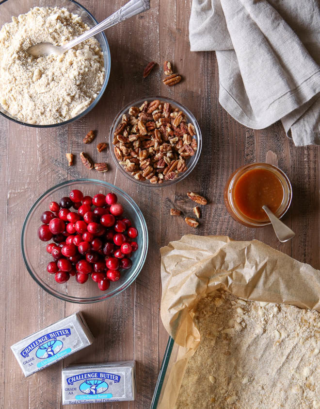 All the ingredients for caramel cranberry nut bars