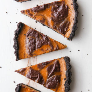 Chocolate Swirl Pumpkin Tart is perfect for the holidays!