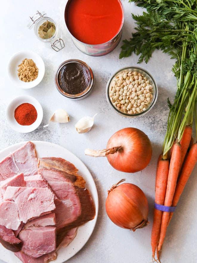 ingredients for ham lentil soup