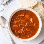 This hearty and delicious ham lentil soup recipe can be made on the stove top or in a slow cooker or instant pot!