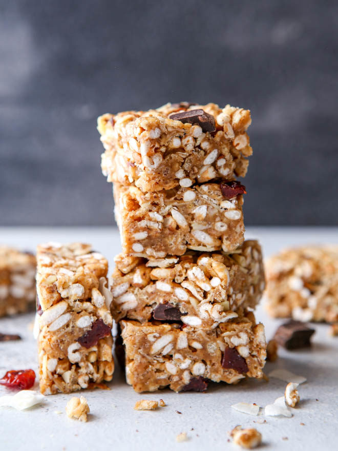 No-bake cereal bars with dried cherries, almonds, and coconut