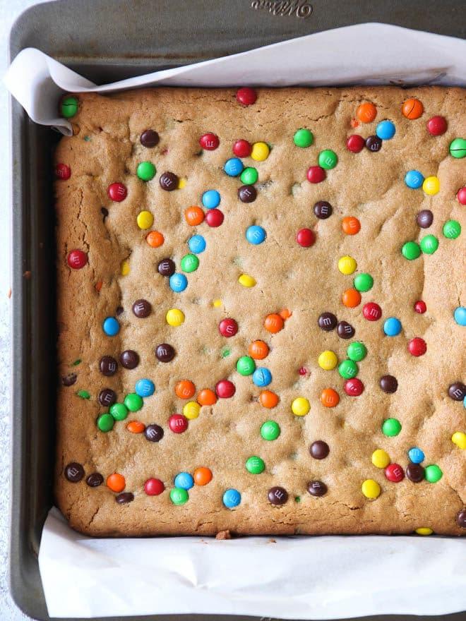 Peanut Butter M&M Cookie Bars