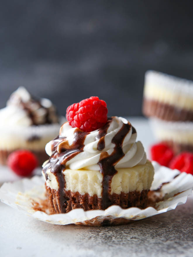 Brownie Bottom Mini Cheesecakes