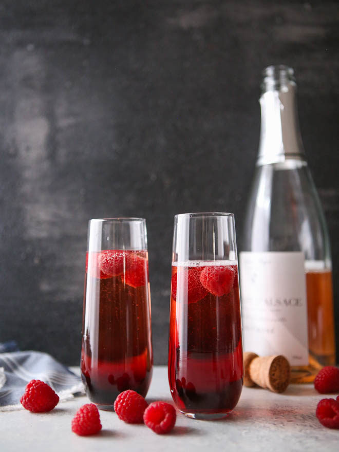 Sparkling raspberry rose cocktails