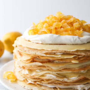 Lemon mascarpone crepe cake up close