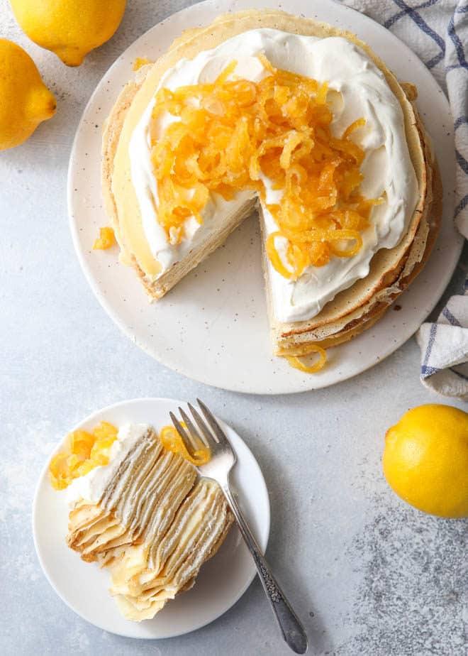 A slice of lemon mascarpone crepe cake