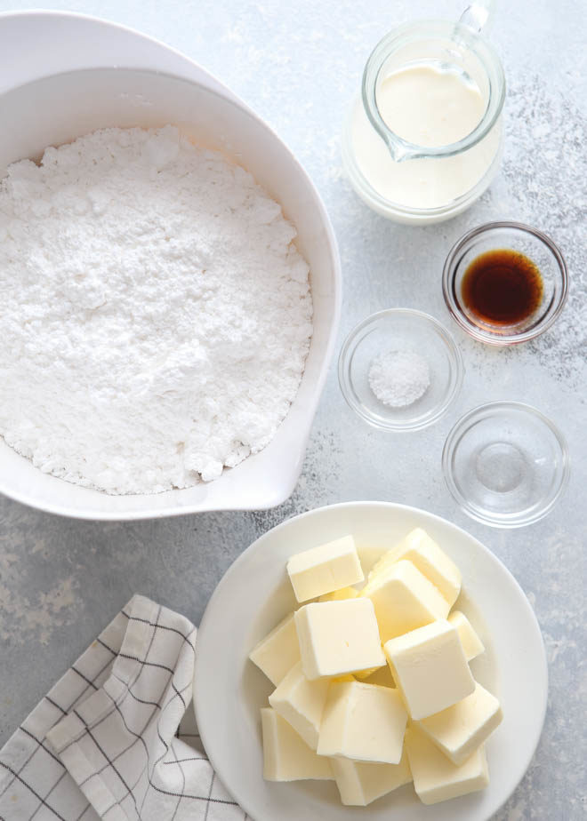 Ingredients needed for whipped vanilla frosting