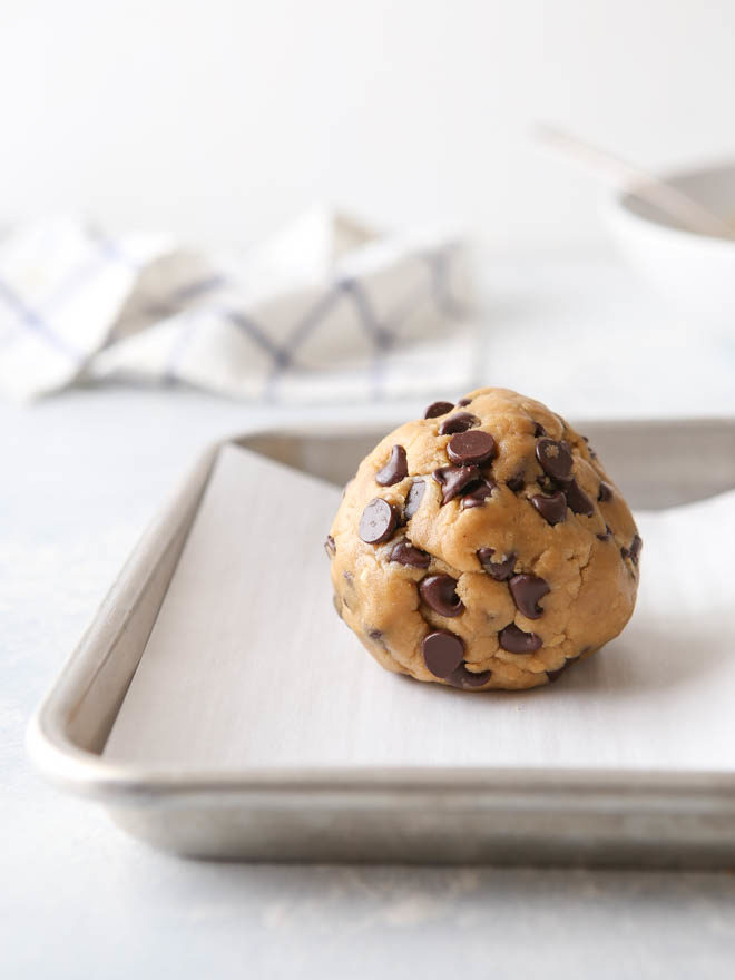 A giant ball of peanut butter chocolate chip cookie dough