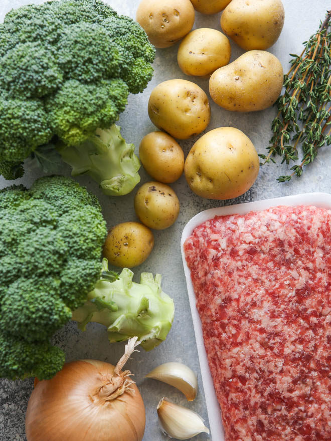 Ingredients needed for sausage, broccoli and potato soup