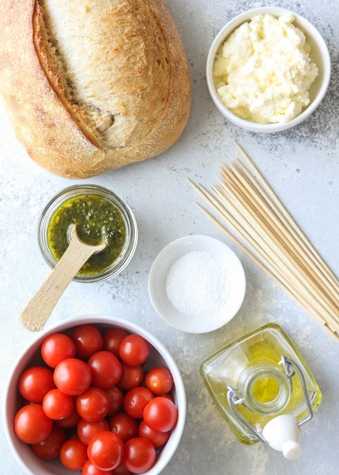 Ingredients to make easy bruschetta skewers on the grill