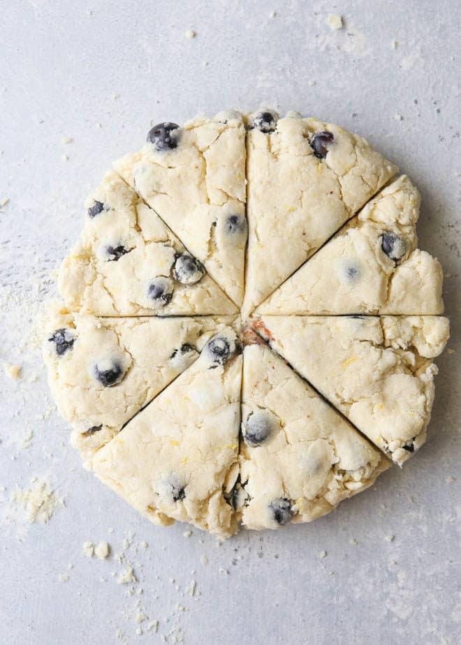 Cutting lemon blueberry scones