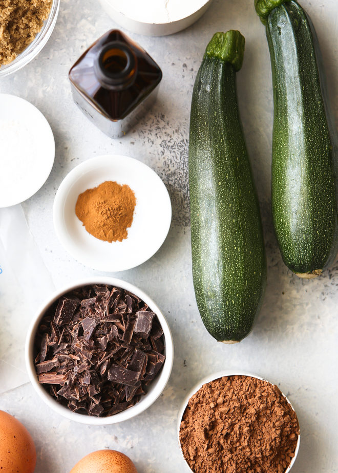 Ingredients for chocolate zucchini cake