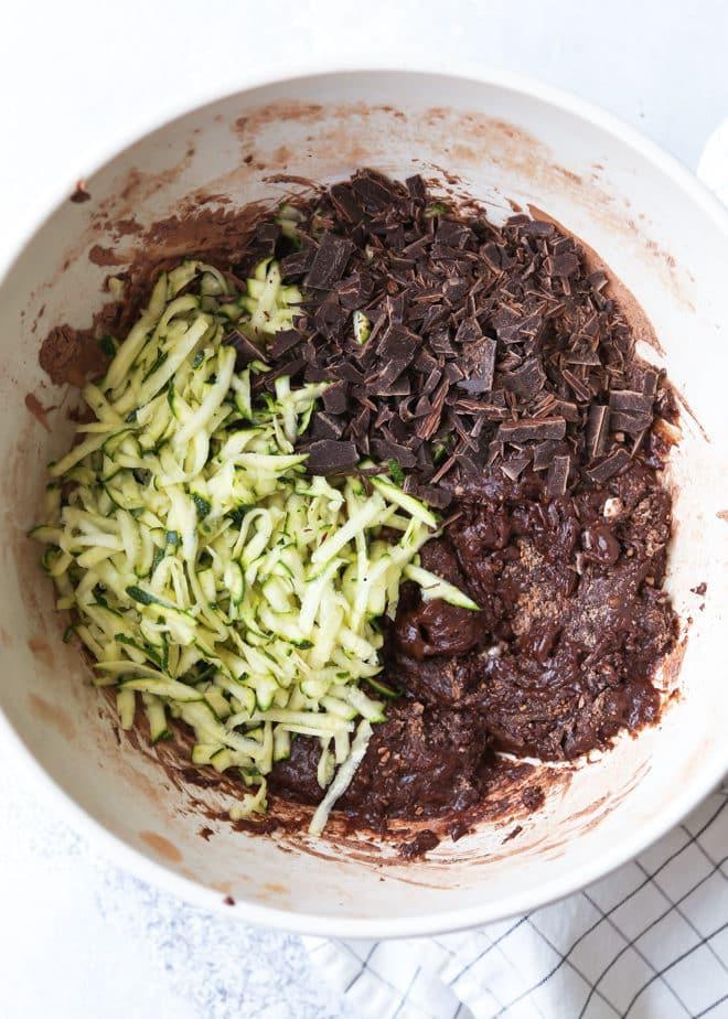 Mixing chocolate zucchini bread