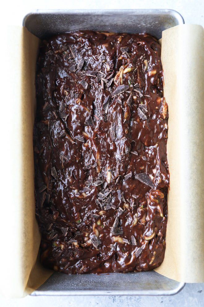 Chocolate zucchini bread ready for the oven