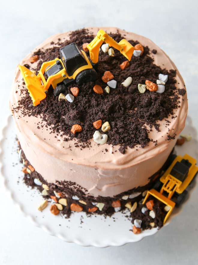 Oreo dirt layer cake with chocolate rocks and mini tractors for my son's 3rd birthday!