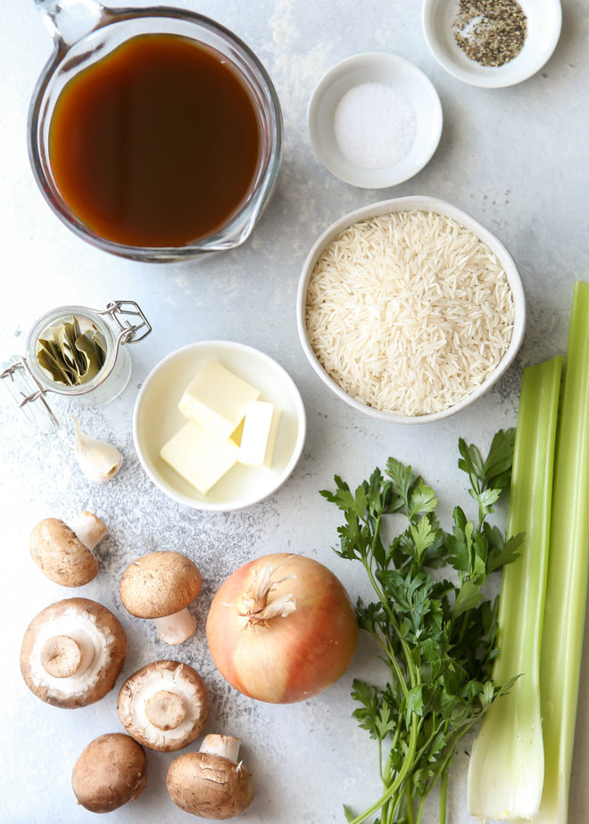 All the ingredients for the best rice pilaf