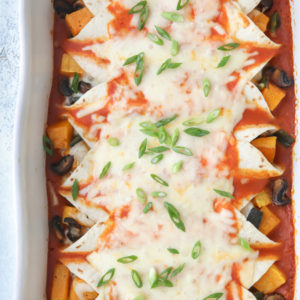 Enchiladas with butternut squash, mushrooms and poblano peppers