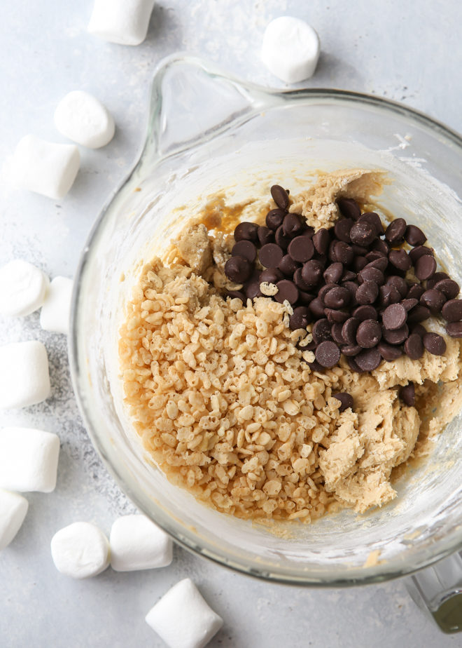 Add marshmallow rice krispie cereal to your chocolate chip cookie dough!