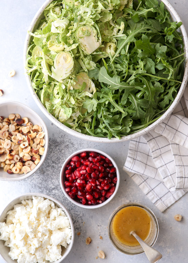 Just 6 ingredients for this brussels sprouts and arugula salad