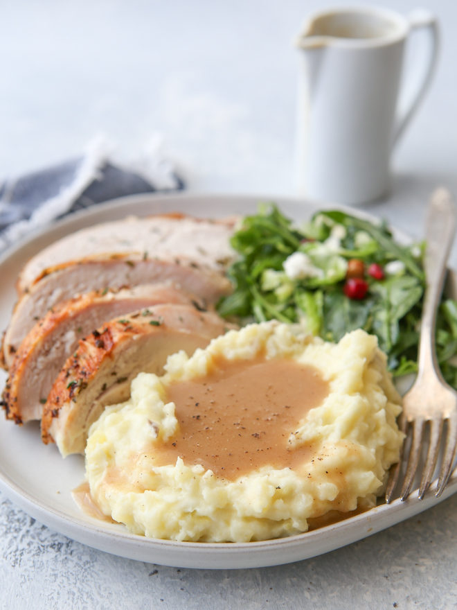 Homemade turkey gravy made from pan drippings is a must for Thanksgiving!