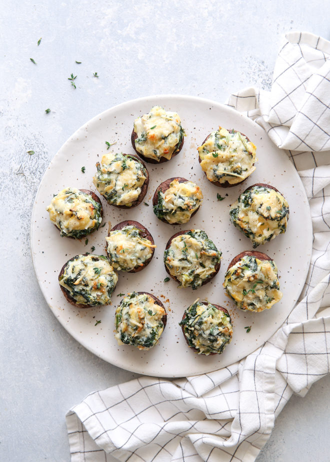 Spinach and artichoke stuffed mushrooms are a fabulous appetizers!