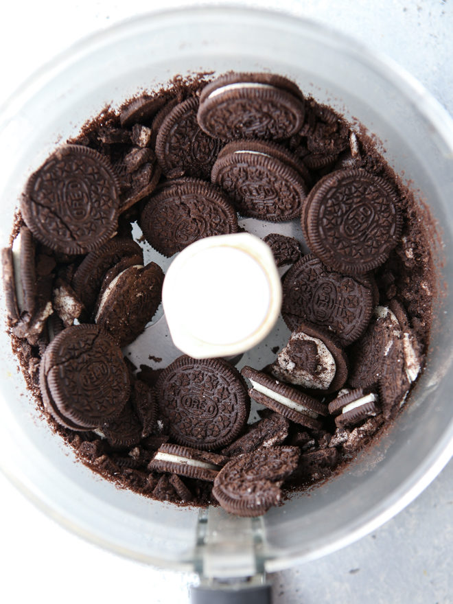 Crushed up Oreos for peppermint bars