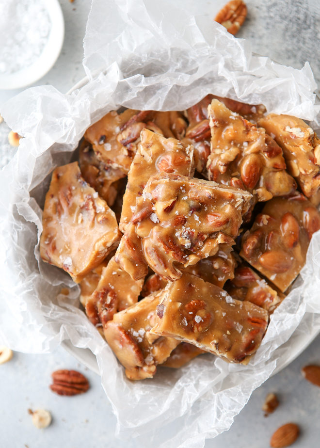 This salted caramel nut brittle is a great holiday treat or edible gift!