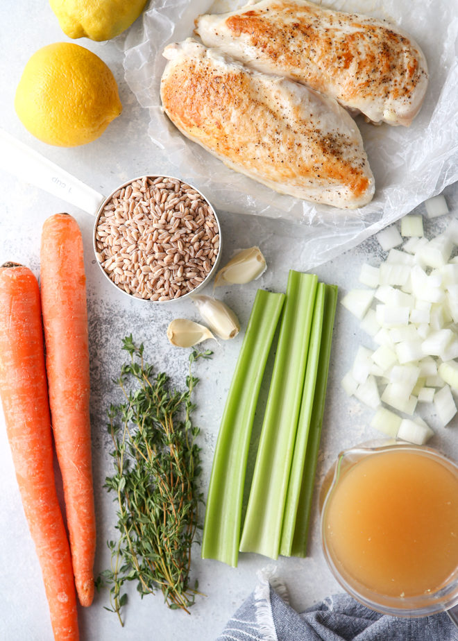 Hearty ingredients needed for lemon, chicken, and farro soup