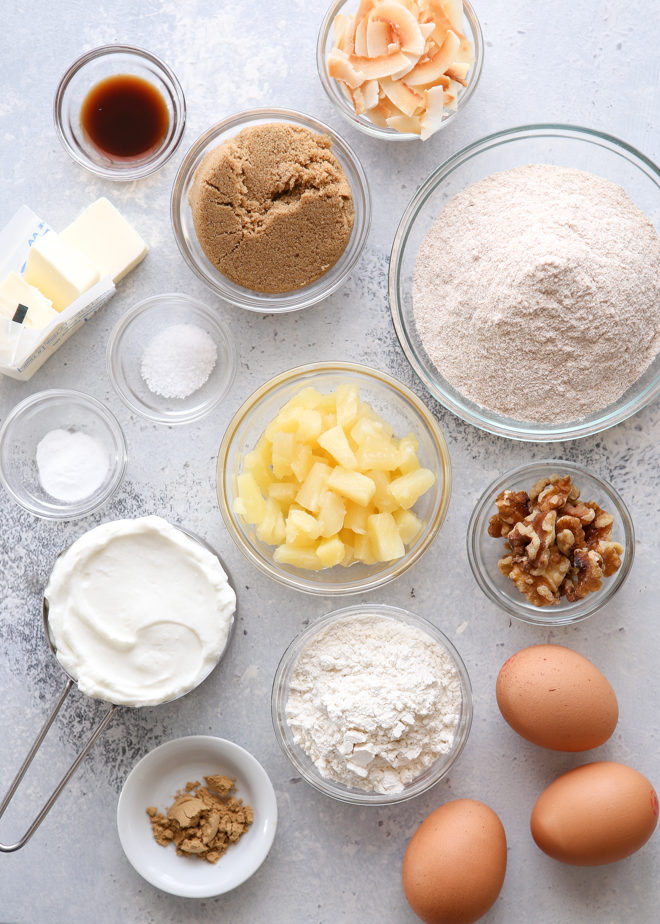 Ingredients needed for pineapple coconut bread