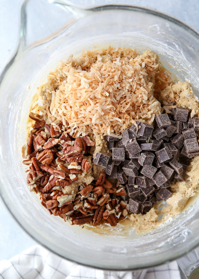 These cookies packed with toasted coconut, pecan, and dark chocolate have crisp edges, chewy centers and irresistible flavor.