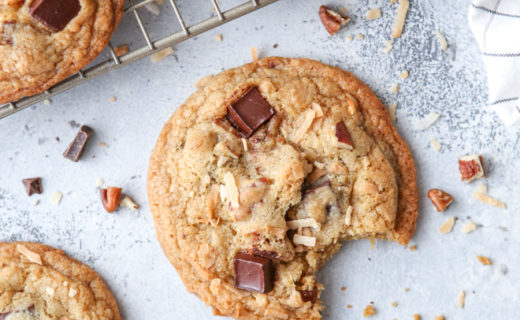 Toasted Coconut, Pecan, and Dark Chocolate Cookies