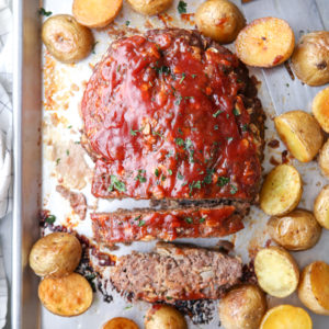 My favorite meatloaf and roasted potatoes cooked together on 1 pan!