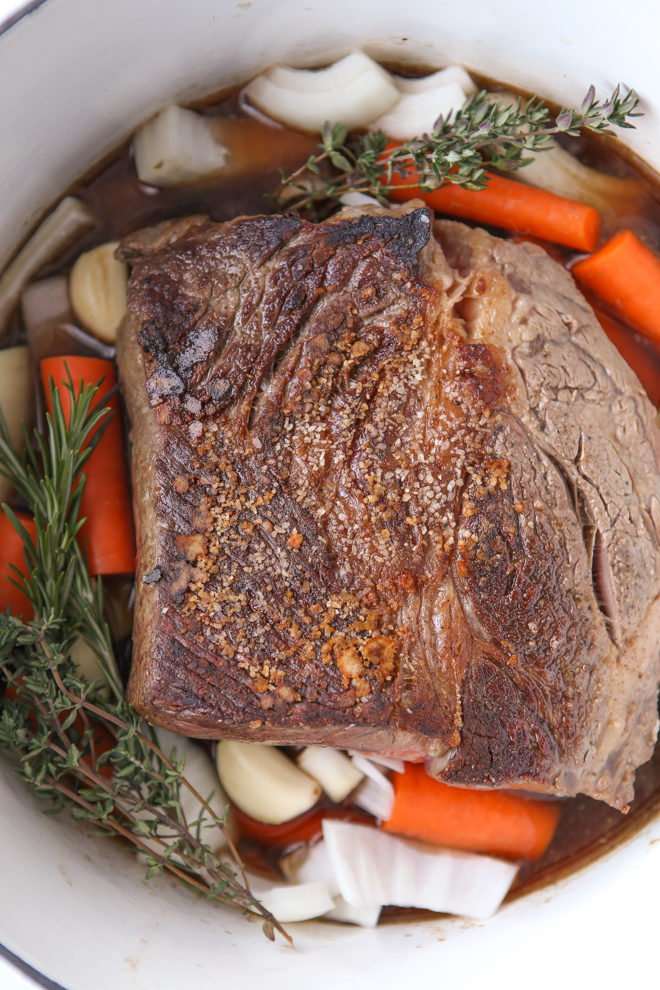 This pot roast is prepped and ready for the slow cooker in just 15 minutes
