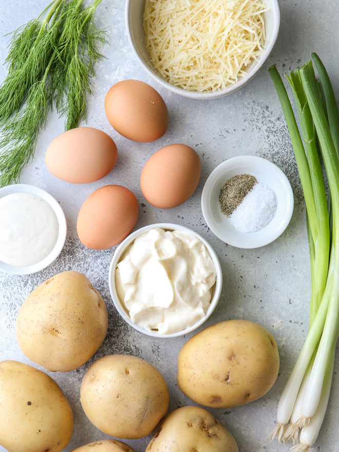 All the ingredients you need to make the best potato salad!