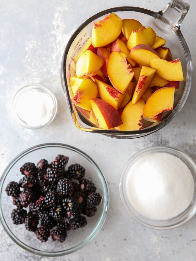 Getting ready to make peach blackberry crisp