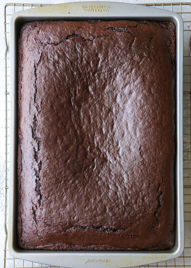 Simple chocolate sheet cake can be baked in a 9x13 pan or half sheet pan.
