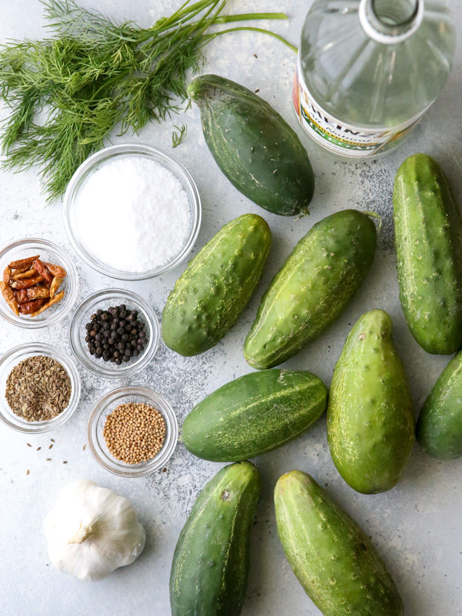 All the ingredients need to make quick pickles
