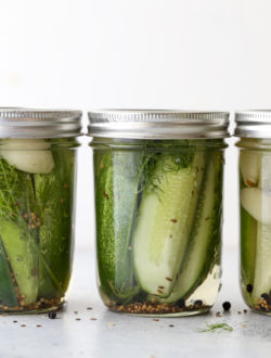 These quick refrigerator dill pickles are easy to make and require no special equipment! They're fresh and crunchy, with just the right flavor of garlic and dill.